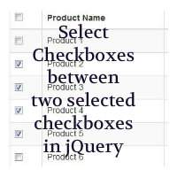 How to select all checkboxes between two checkboxes in jQuery