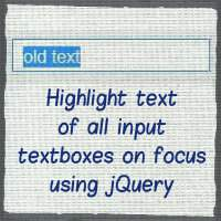 Highlight text on focus for all input textboxes using jQuery