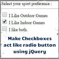 How to make checkboxes to act like radio button using jQuery